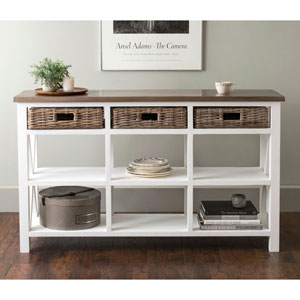 Dillman White Rectangular Mahogany and Rattan Sideboard