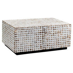 Dellwood White Coconut Shell Inlay Rectangle Coffee Table