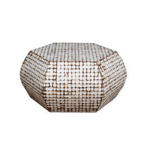 Delmont White Coconut Shell Inlay Hexagon Coffee Table