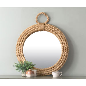 Hass Brown Round Jute Wall Mirror