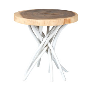 Joeslin White Teakwood Round Accent Table