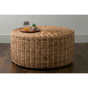 Langdon Brown Round Abaca Coffee Table