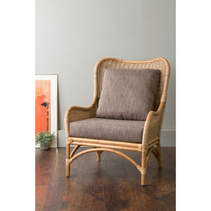 Lyndon Brown Square Rattan Accent Chair