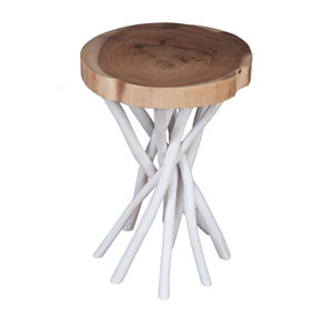 Lancer White Teakwood Round Accent Table
