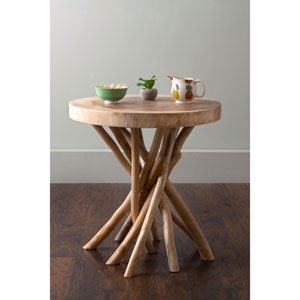 Merrill Brown Round Teakwood Accent Table