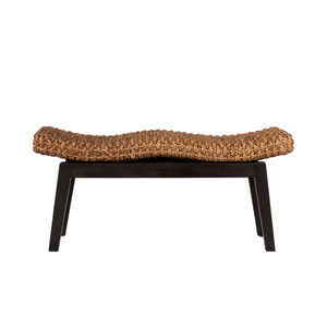 Myra Brown Wood and Water Hyacinth Bench