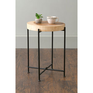 Rico Brown Round Teakwood Accent Table