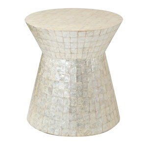 Rossville Off-White Wood and Capiz Round Accent Table