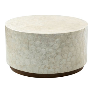 Rowden Off-White Wood and Capiz Round Coffee Table