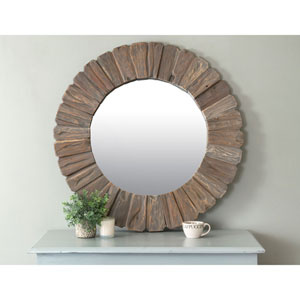 Salix Brown Round Teakwood Mirror
