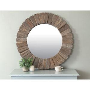 Salix Brown Round Teakwood Mirror