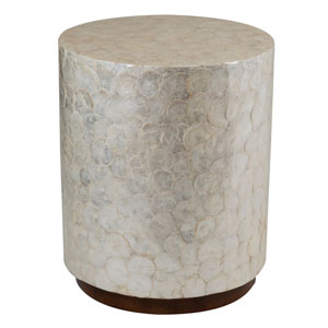 Sable Off-White Wood and Capiz Round Accent Table