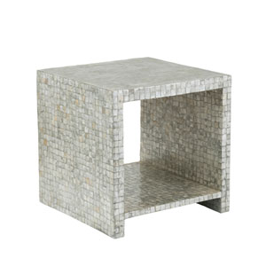 Sanford Silver Capiz Square Accent Table