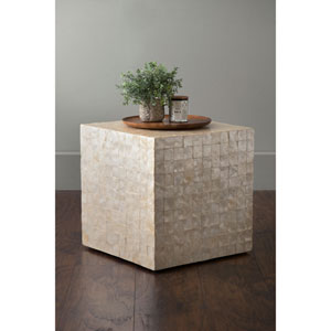 Thaxton Off-White Square Engineered Wood and Capiz Accent Table