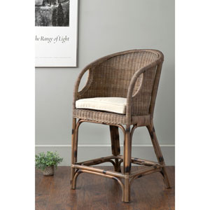 Vold Brown Square Rattan Counter Stool