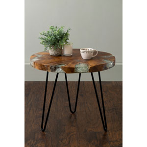 Wellton Brown Round Teakwood Accent Table