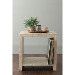 Yutan Off-White Square Wood and Capiz Accent Table