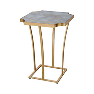 Xanadu Gold Leaf and Faux Grey Marble End Table