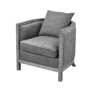 Cupertino Reclaimed Grey Wood and Grey Chenille 28-Inch Club Chair