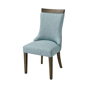 San Antonio Reclaimed Brown, Grey Wood and Green Linen 20.5-Inch Dining Chair