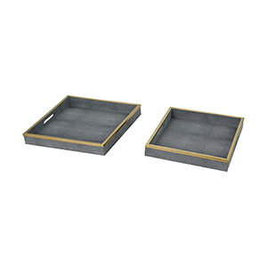Coral Grey Faux Shagreen with Gold Stainless Steel 16-Inch Tray