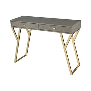 Sunset Linen Look Faux Leather with Gold Plated Stainless Steel 43-Inch Console