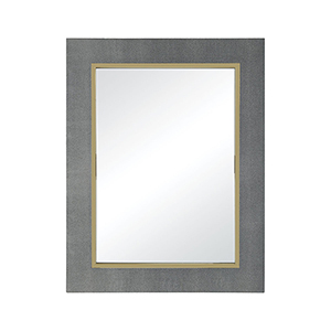Coral Metallic Grey Faux Leather with Gold Plated Stainless Steel 27-Inch Mirror