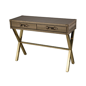 Wanderlust Gold Plated Stainless Steel and Metallic Gold Snake Skin 43-Inch Console