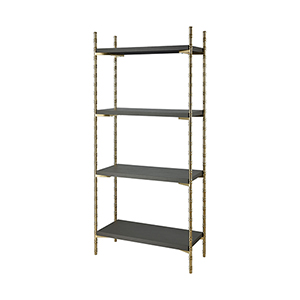 Grand Grey Faux Leather with Gold Plated Stainless Steel 33-Inch Shelf