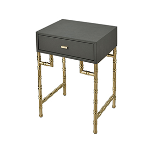 Grand Grey Faux Leather with Gold Plated Stainless Steel 18-Inch Accent Table