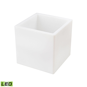 A Design Space Oddysey White 16-Inch LED Planter