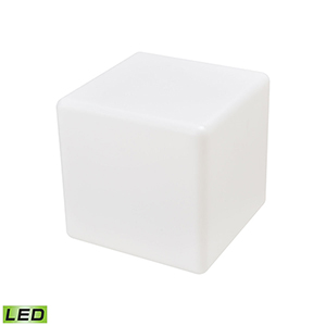A Design Space Oddysey White 16-Inch LED Outdoor Side Table