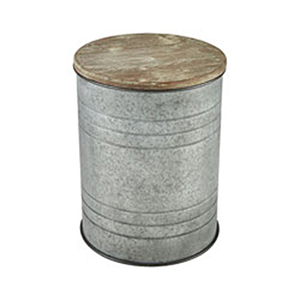 Cannes Galvanized Steel and Wood Tone End Table