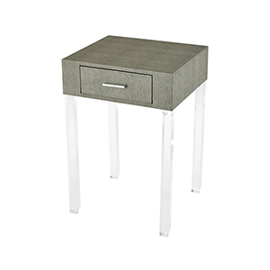 Monaco-Ville Grey Faux Shagreen and Clear Acrylic 16-Inch Accent Table