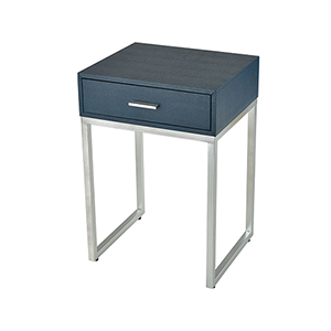 Les Revoires Navy Faux Shagreen with Silver 16-Inch Accent Table