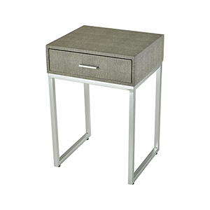 Les Revoires Grey Faux Shagreen with Silver 16-Inch Accent Table