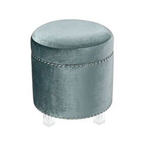 National Velvet Duck Egg Blue and Clear Ottoman