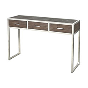 Beefcake Walnut and Stainless Steel Console Table