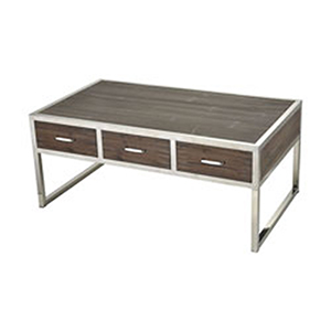 Beefcake Walnut and Stainless Steel Coffee Table
