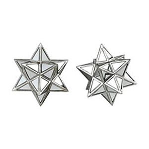 Diamond Dust Silver and Clear Mirror Star Decorative Accessory