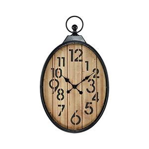 Near Bronze with Wood Tone 22-Inch Clock