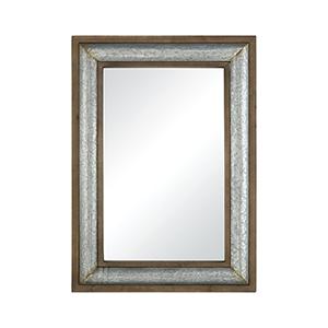 Laight Galvanized Steel and Medium Tone Distressed Oak Finish 30-Inch Mirror