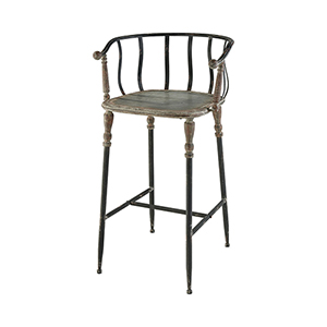 Yonkers Galvanized Steel and Rust 21-Inch Bar Stool