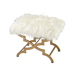 Galore Bench Gold and White Ottoman