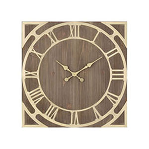 Robber Baron Gold and Salvaged Brown Oak Clock