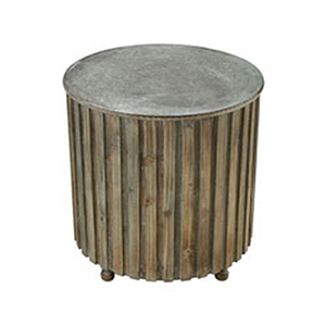 Boone Salvaged Grey Oak and Galvanized Steel End Table