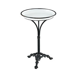 Biloxi White Enamel and Aged Black Accent Table