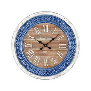 County Cork Wood Tone and Blue Enamel Clock
