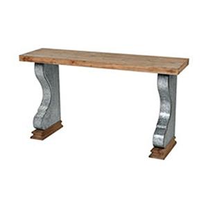 Coachella Wood Tone and Galvanized Steel Console Table