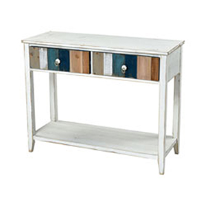 Bar Harbor White Blue and Wood Tone Console Table